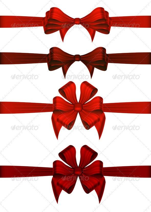 Red Gift Ribbons - Christmas Seasons/Holidays