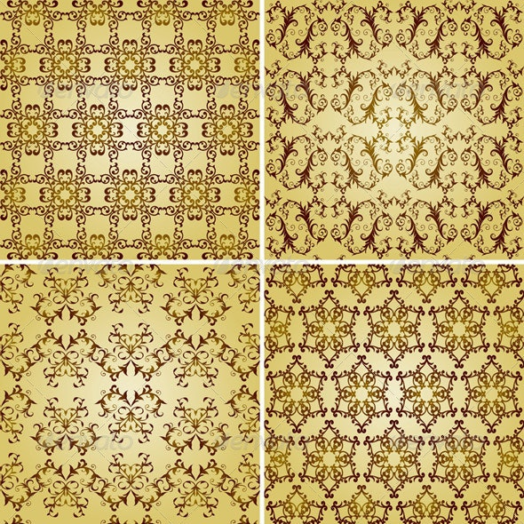 Vector Seamless Golden Patterns, Oriental Style - Patterns Decorative