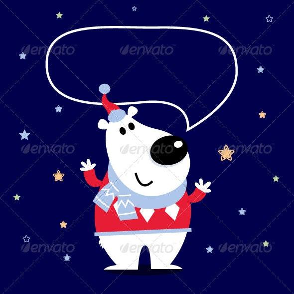 Cute Cartoon Polar Bear with Speaking Bubble - Christmas Seasons/Holidays