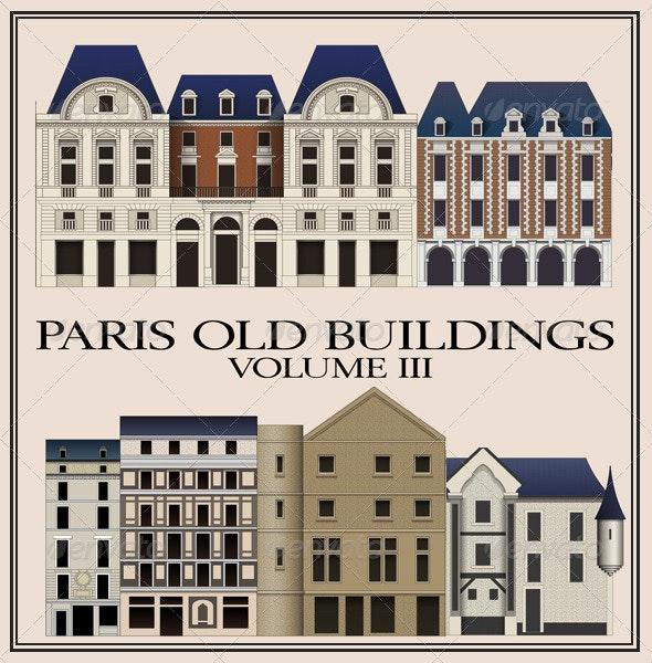 Vectors: Six Old Parisian Buildings, Vol III - Buildings Objects
