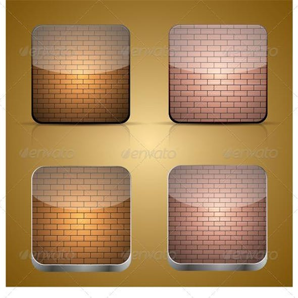 Vector App Brick Icon Set on Brown Background