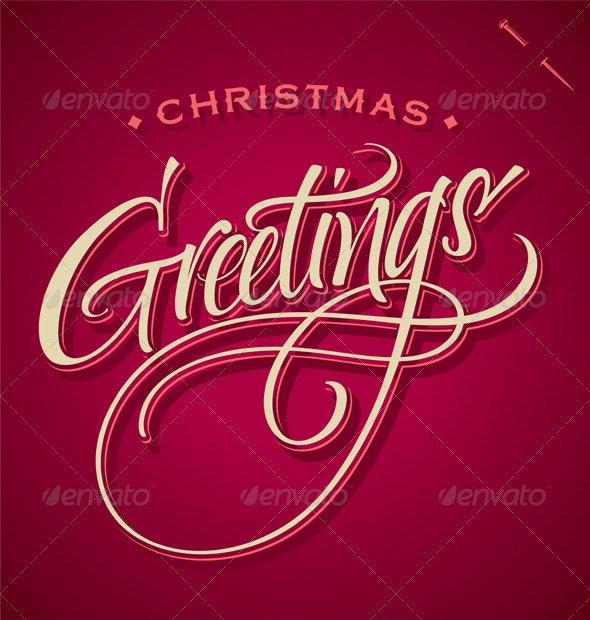 Christmas Greetings Hand Lettering (Vector) - Christmas Seasons/Holidays