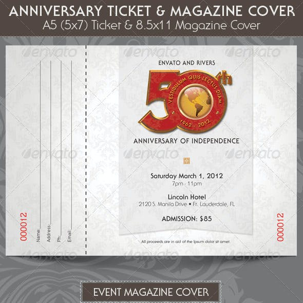 Anniversary Event Ticket Plus Magazine Cover Template