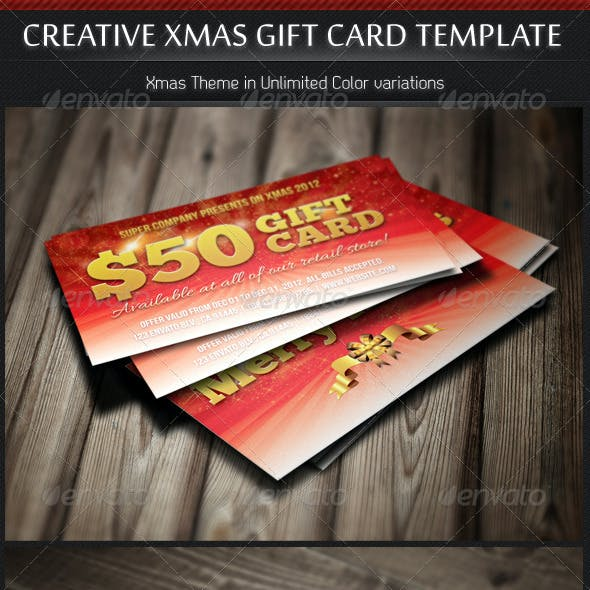 Creative Xmas Gift Cards in Unlimited Colors