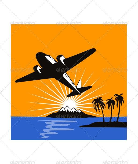 Airplane Retro - Travel Conceptual