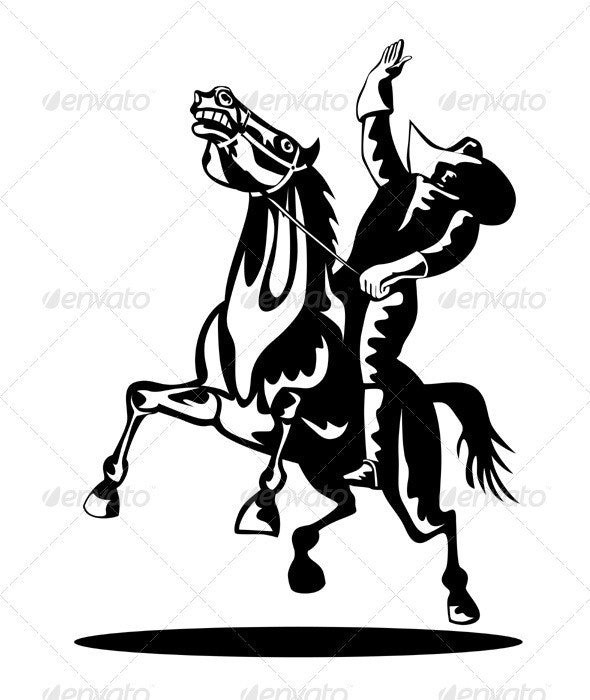 Rodeo Cowboy Riding Bucking Bronco Horse  - People Characters