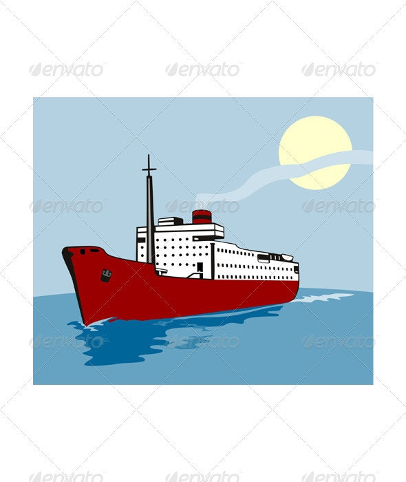 Container Ship Cargo Boat Retro  - Travel Conceptual