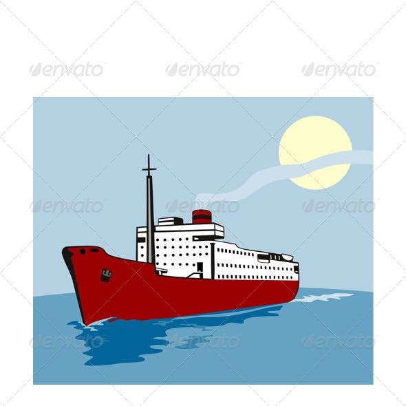 Container Ship Cargo Boat Retro