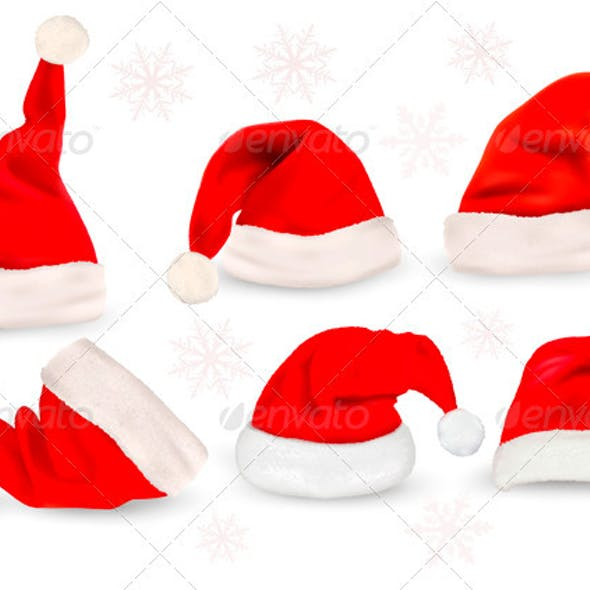 Big collection of red santa hats  Vector