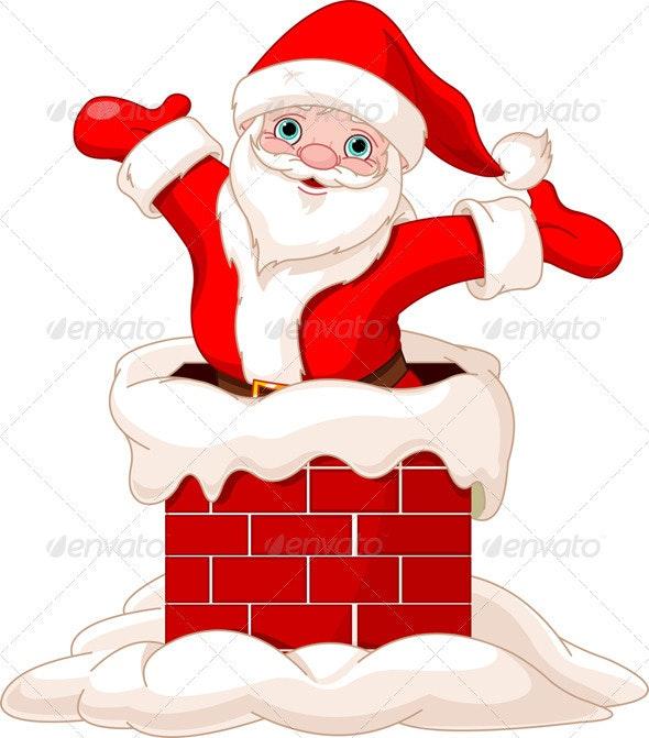 Santa Claus Jumping from Chimney - Christmas Seasons/Holidays