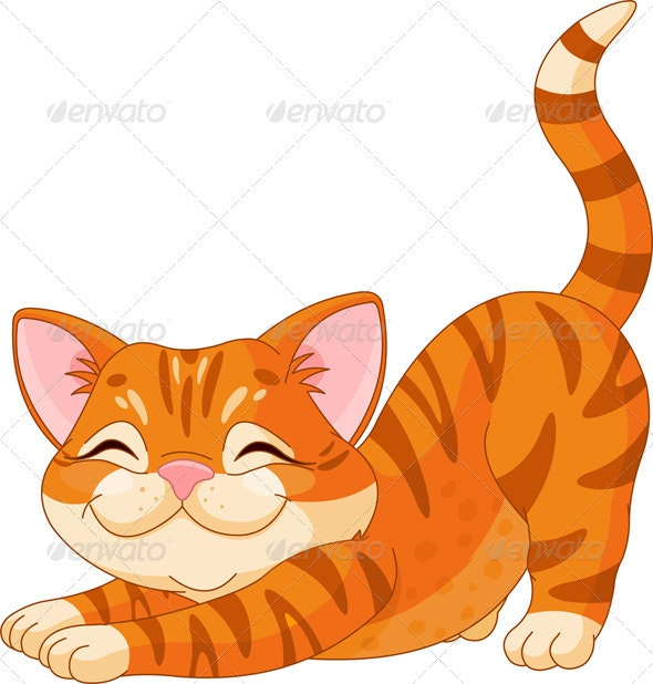Cute Kitten Stretching - Animals Characters