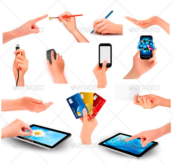 Set of hands holding different business objects   - Concepts Business