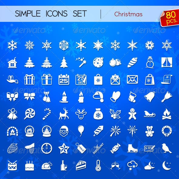 80 Simple Icons - Christmas