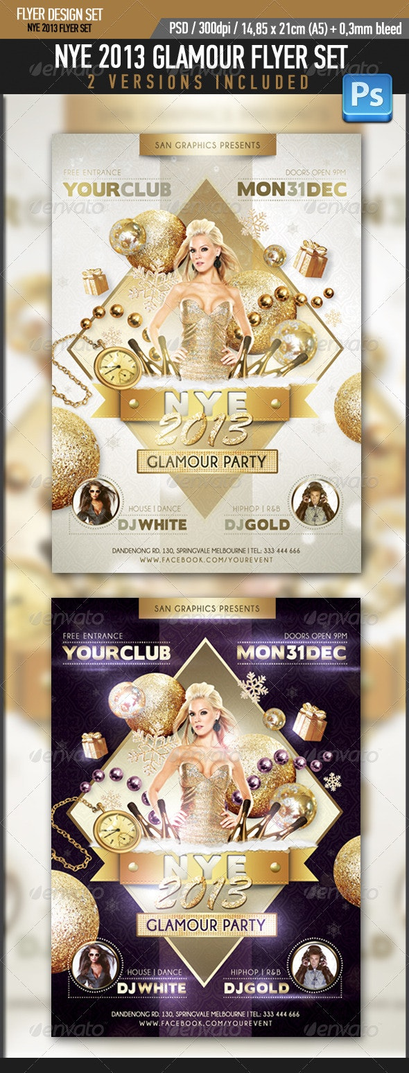 NYE 2013 Glamour Flyer - Clubs & Parties Events