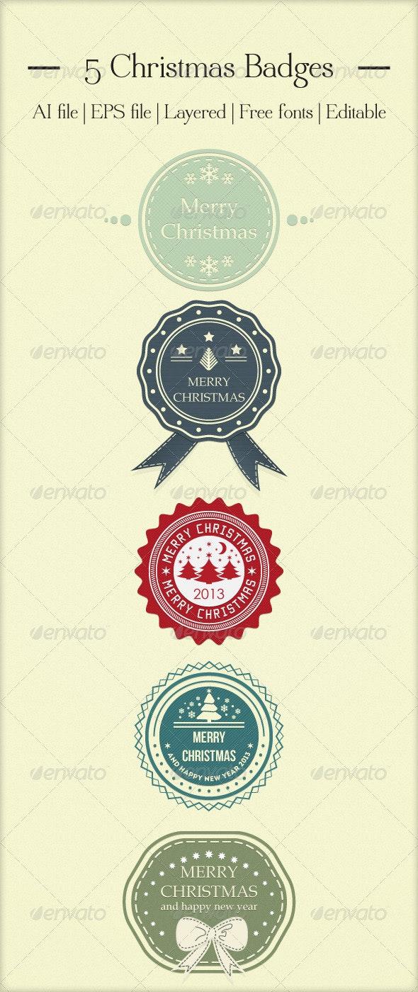 5 Christmas Badges - Christmas Seasons/Holidays