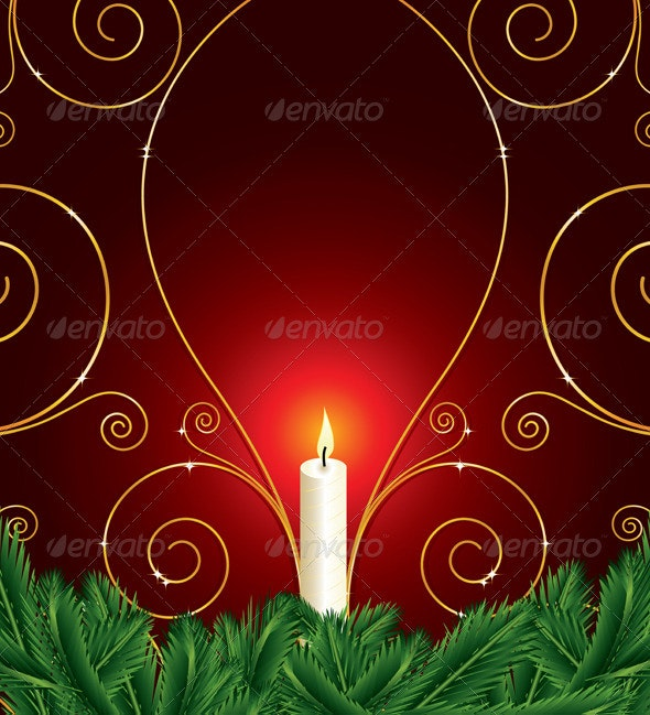 Christmas background with candle and pine leaves - Christmas Seasons/Holidays