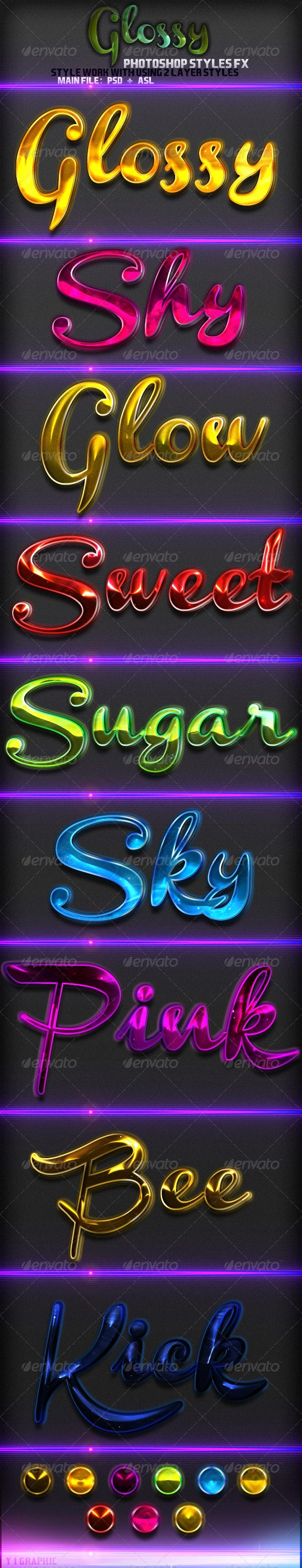9  Glossy Styles - Text Effects Styles