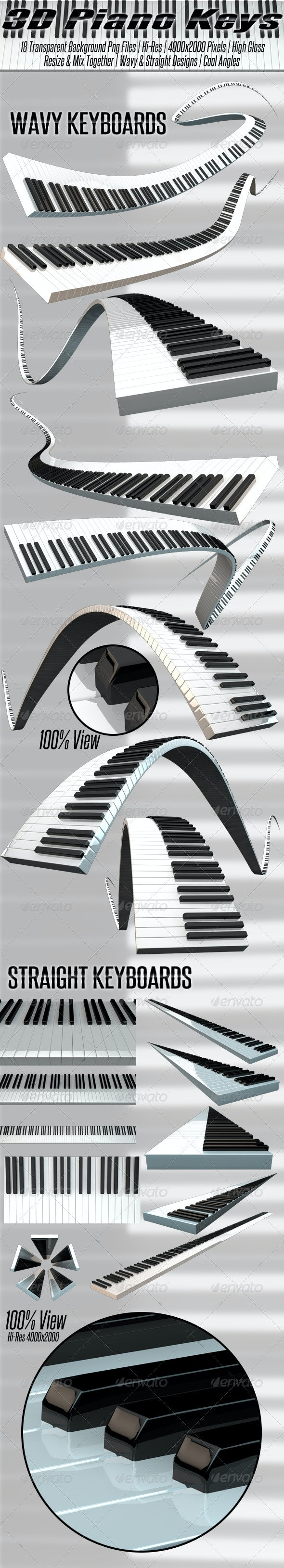 3D Rendered Piano Keyboards - Objects 3D Renders
