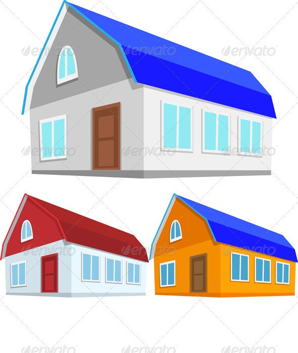 Vector Set of Colored Houses - Buildings Objects