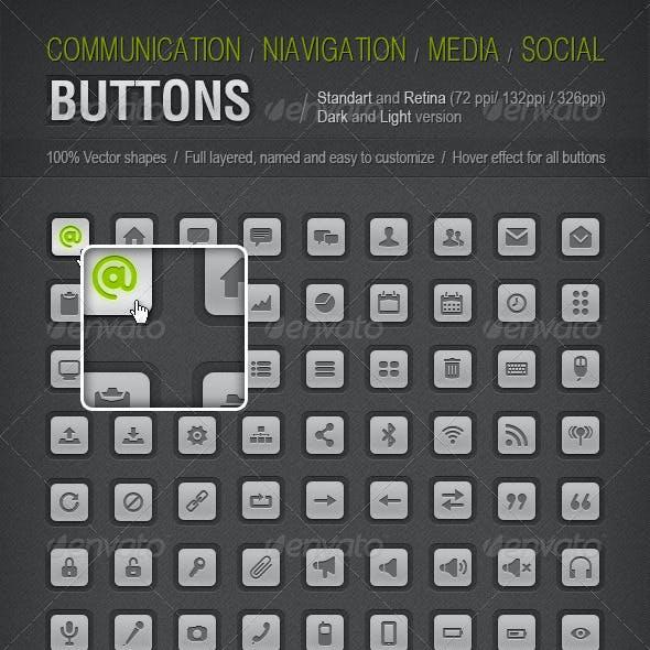 Buttons Set - Dark&Light (Retina)