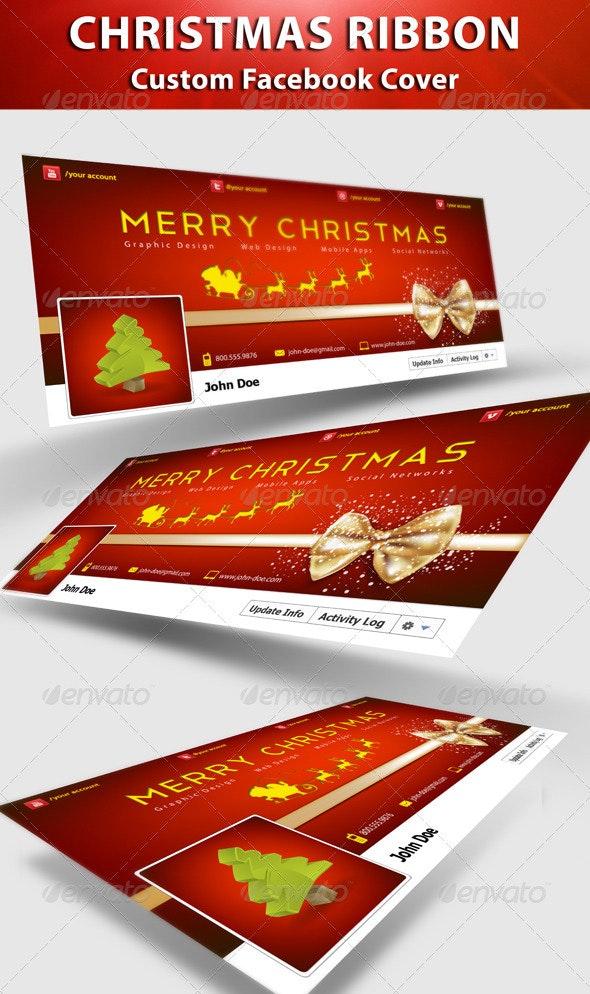 Christmas Ribbon FB Cover - Facebook Timeline Covers Social Media