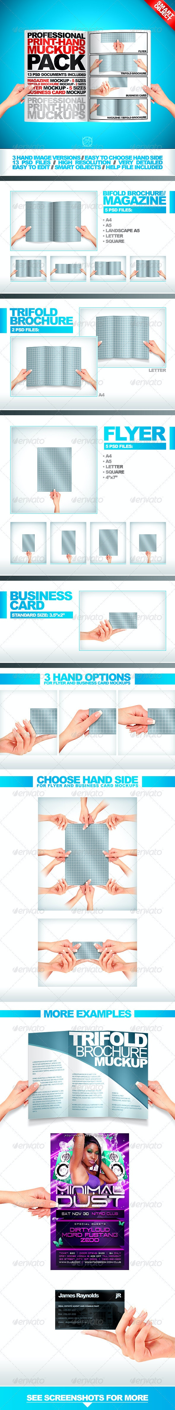 Professional Print Hand Mock Ups Pack = 13 Files - Miscellaneous Product Mock-Ups