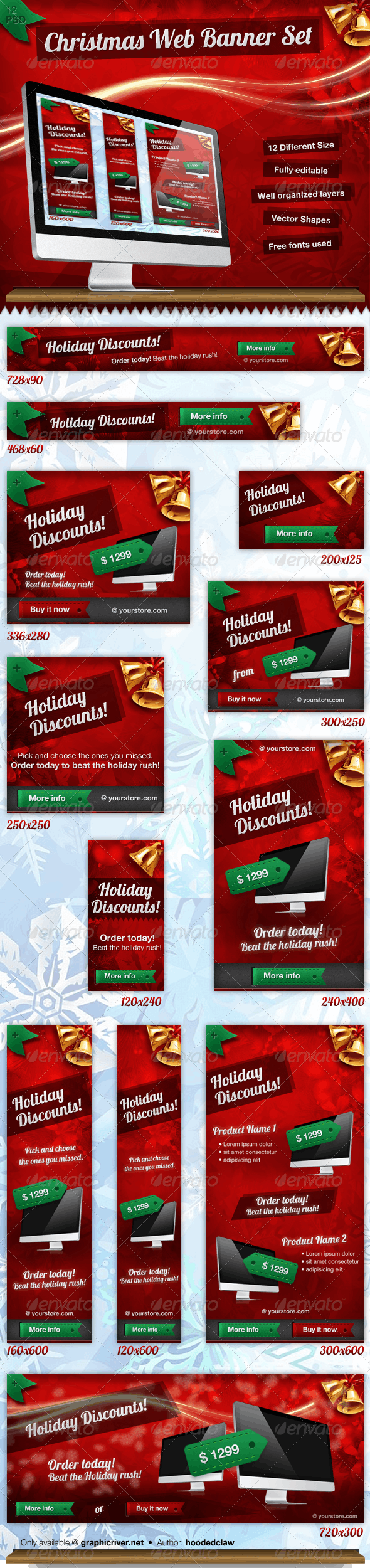 Christmas Web Banner Set - Banners & Ads Web Elements