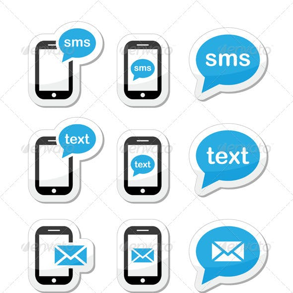 Mobile sms text message mail icons set as labels