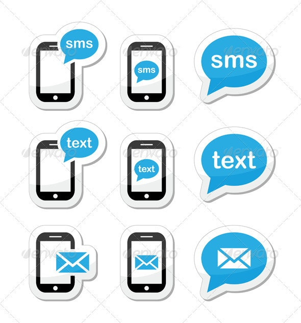 Mobile sms text message mail icons set as labels - Communications Technology
