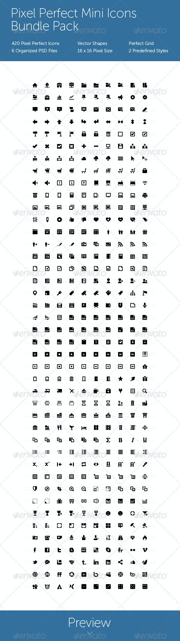 Pixel Perfect Mini Icons Bundle Pack - Web Icons