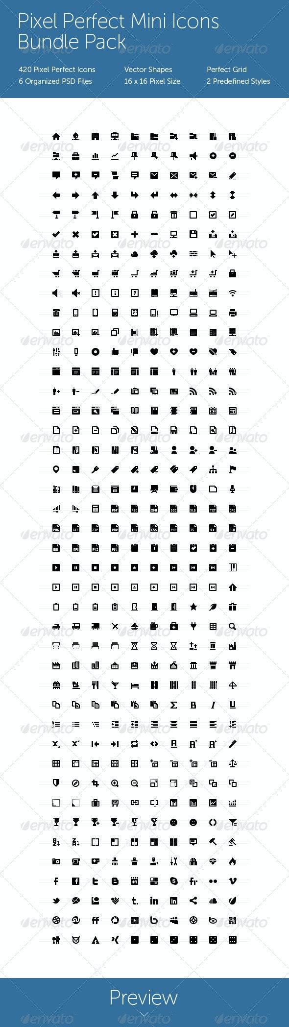 Pixel Perfect Mini Icons Bundle Pack - Web Icons