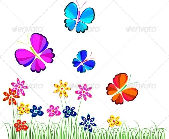 Flowers and Butterflies - Nature Conceptual