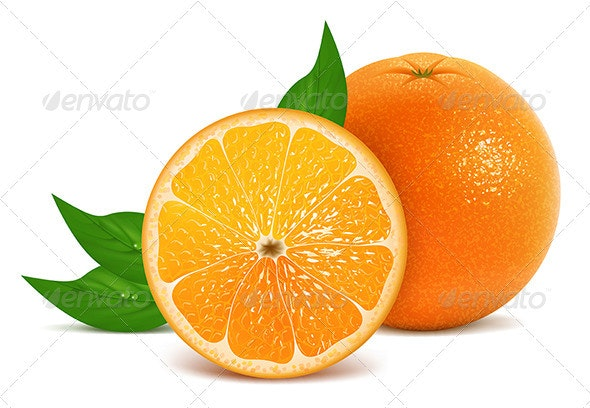 Fresh oranges with leaves - Food Objects