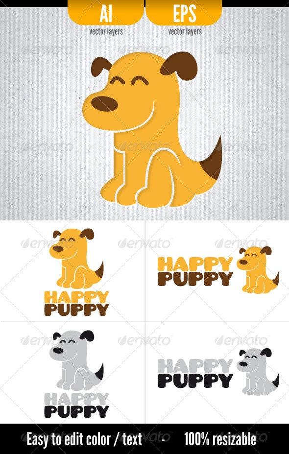 Happy Puppy - Animals Logo Templates