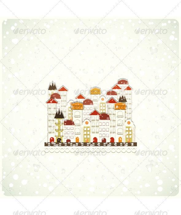 Small white town and snow - Christmas Seasons/Holidays