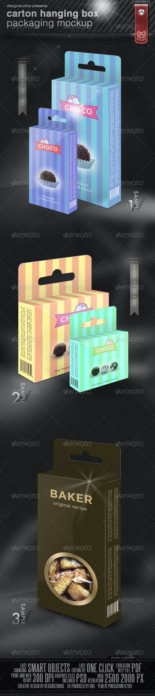 Carton Hanging Box Packaging Mock-Up - Food and Drink Packaging
