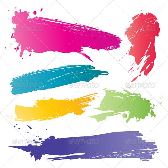 Set of Colors Vector Brushes