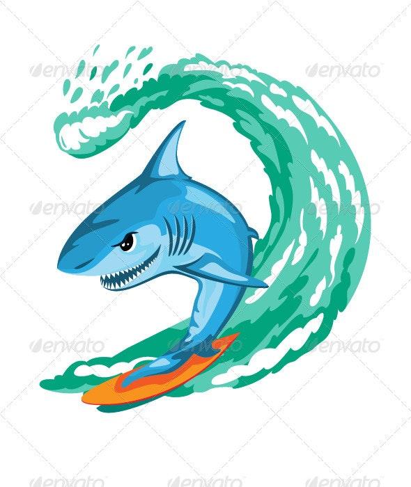 Cartoon Shark Surfer - Animals Characters