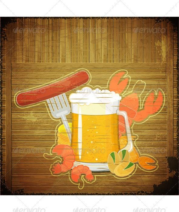 Grunge Design Beer Menu - Food Objects