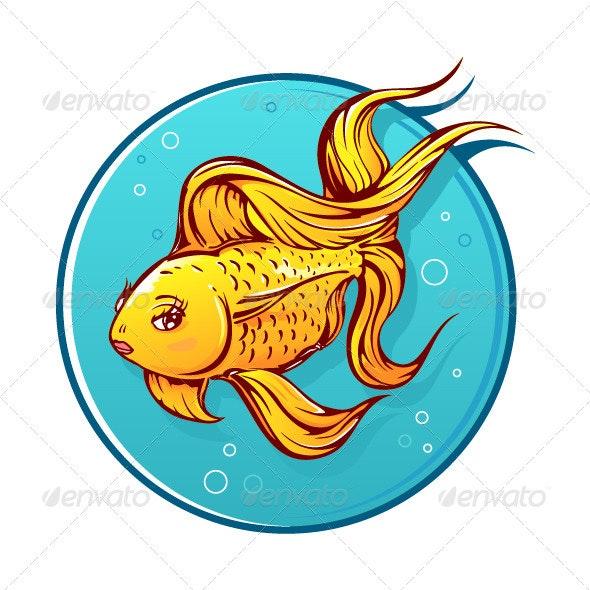 Lovely Goldfish Cartoon - Animals Characters