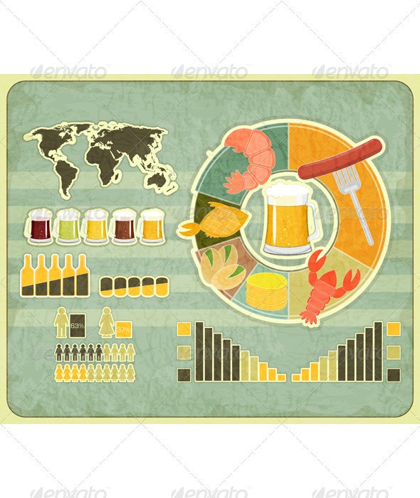 Retro Infographics Design - Beer icons, Snack - Infographics