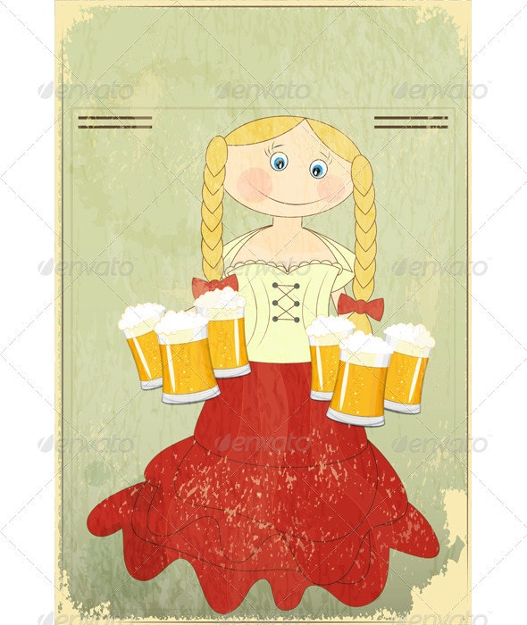 Blond Girl with Beer - People Characters
