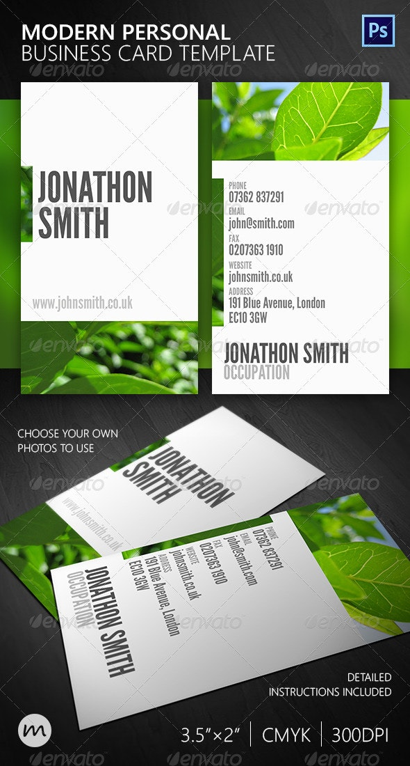 Beautiful Modern Personal Business Card - Creative Business Cards