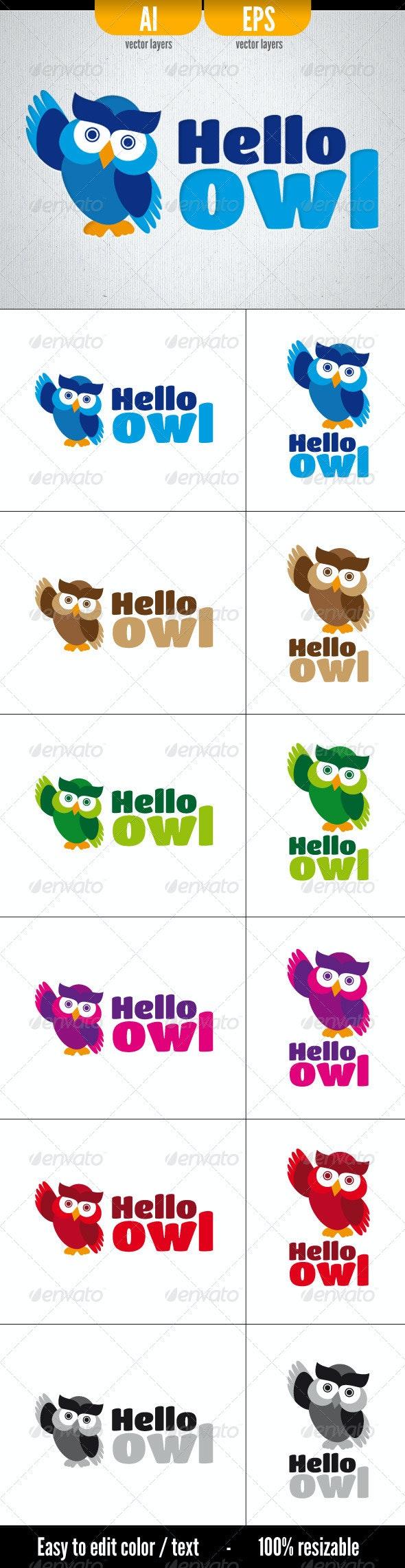 Hello Owl - Animals Logo Templates