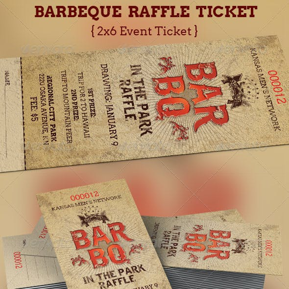 BarBeQue Raffle Ticket Template
