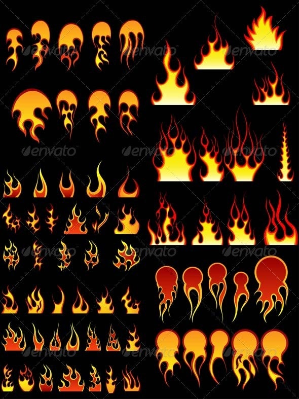 Fire Icon Set - Abstract Conceptual