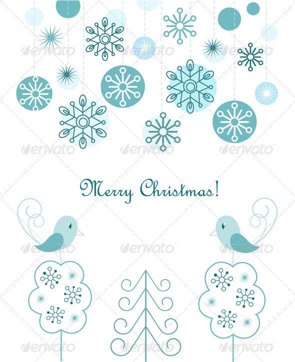 Christmas Balls And Snowflakes Background - Christmas Seasons/Holidays