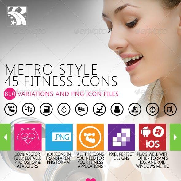 45 Fitness Icons Metro Style Retina Ready