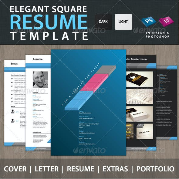 Professional Elegant Square Resume CV Set