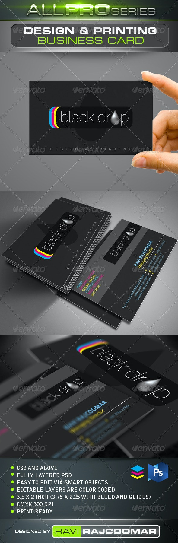 Black Drop Business Card - Industry Specific Business Cards